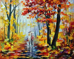 Rain In The Woods by Leonid Afremov by Leonidafremov