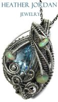 Blue Topaz and Opal Wire-Wrapped Pendant in SS by HeatherJordanJewelry