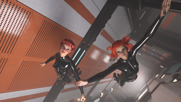Space Girls in Micrograv by sohighlydubious