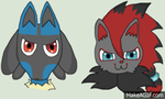 Lucario And Zoroark Blinking ( COMMISSION ) by PrankStarz101