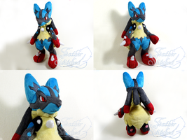 Mega Lucario Plush Collage by FeatherStitched