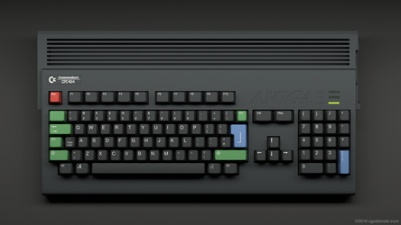 Amiga keboard in an iconic Amstrad CPC464 color sc by zgodzinski