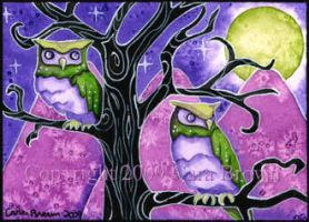 Magic Owl, owls, ACEO, ATC by candcfantasyart