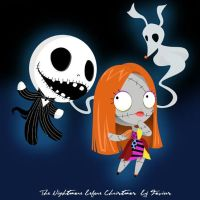 Jack, Sally and Zero Chibi version by Favius  by favius