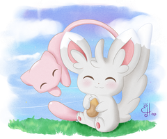 Mew and Minccino by Exceru-Karina