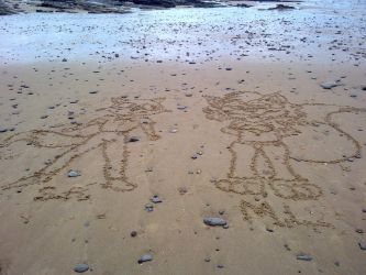 Stephen and Valentina on Sand by Megamink1997