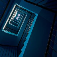 blue staircase by herbstkind