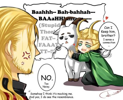 Thor, Loki, and gangster goat by Bloody-Pidan