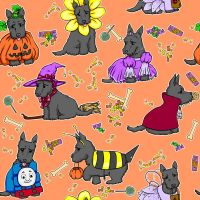 Halloween Scottie Repeating Pattern Tile by chibipandora