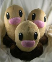 Dugtrio plush commission by Bladespark