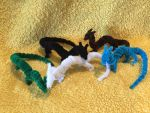Herd of Mini Pipecleaner Dragons by IsellaHowler