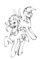 Derpy and the Doctor :lineart: by brat-the-twitchy-one