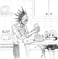 Kenpachi making cake by Achrafuuu