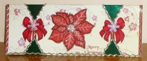 Pointsetta Xmas Cracker Card Red and Green by blackrose1959