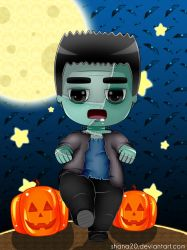 Frankenstein Halloween + Background by Shana20