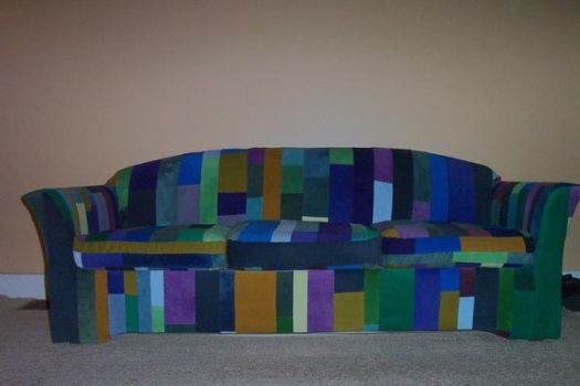 My couch I reupholstered by misspatch13
