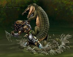 Predator vs Croc colours by MalSemmensArt