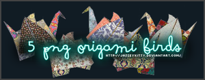 5 Origami Birds - PNG Pack by silklungs