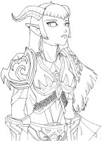 WoW:Aanthua gift art-lineart by Rein-chan