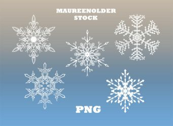 STOCK PNG white snow flakes by MaureenOlder
