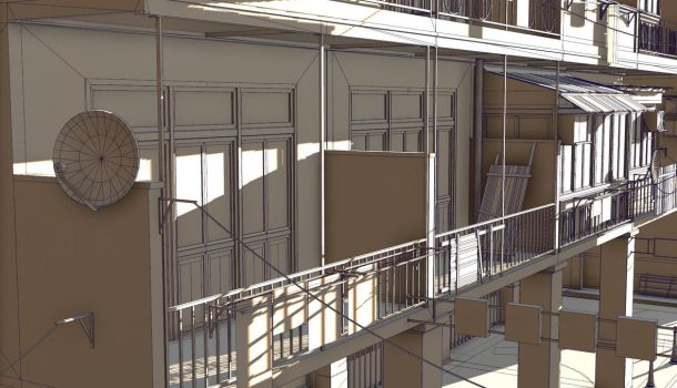Commercial district construction kit balcony W by PixelMonger75