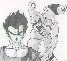Ultimate Gohan and Super Buu by aaron-23