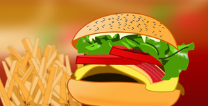 Hamburger with Fries by techtoucian