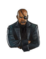 Nick Fury (Portrait) by timeturned