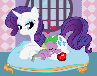 Naptime with Spike and Rarity by Miserie