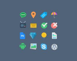 16 Flat Vector Web Icons by bestpsdfreebies