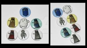 Dr. Who 1 inch Button Set by JellySoupStudios