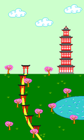 Japanese landscape in pixel art by Dixbit