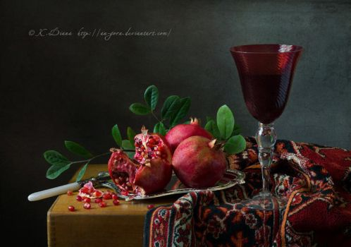 Still life with pomegranates and red cup by An-gora
