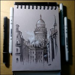 Sketchbook - View of St. Isaac's Cathedral by Candra