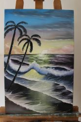 Bob Ross style oil painting 'high tide' by marijanaet