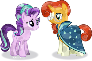Crystal Starlight and Sunburst by Vector-Brony