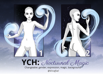 [CLOSED] YCH Auctions: Nocturnal Magic by Virafiel