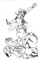 Cable and Deadpool Pencils by acarabet