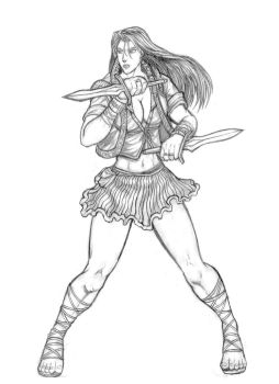 Maria (Warriors of Chaos) Line Art by SoulStryder210