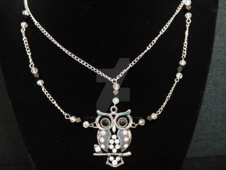 Crystal Owl Necklace by TheCraftyMaiden