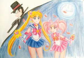 Sailor Moon, Sailor ChibiMoon and TuxedoMask by SailorBomber