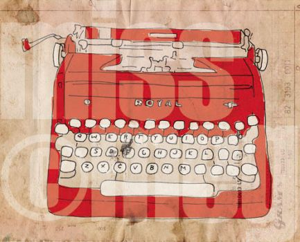 Red Prints-Typewriter by dragon-the-chain