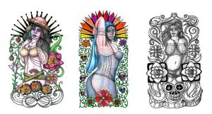 Day of the Dead girls tattoo designs by thehoundofulster
