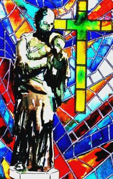 Stained Glass Statue - Digital Edit by Onyana