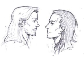 Thor- Loki sketch by Kibbitzer