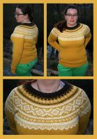 Retro yellow Marius fair-isle sweater - COMMISSION by KnitLizzy