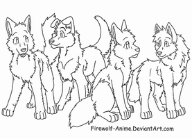 Four Friends Lineart by Firewolf-Anime