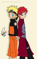 Cute NaruGaa Back to Back by unikorn