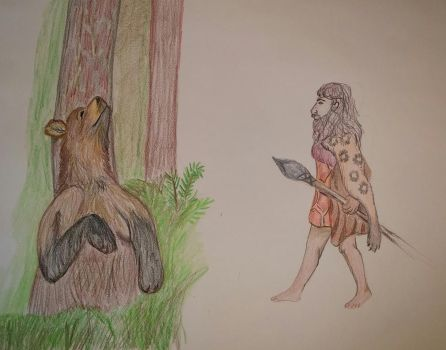 Short Faced Bear vs Team Neanderthals by ladylithia