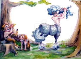 Centaur and two fauns by atsuineko